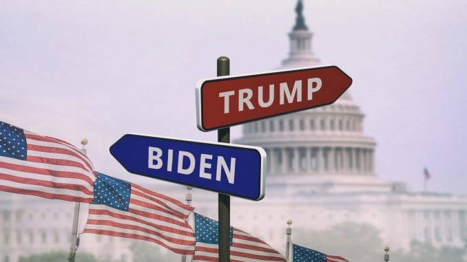 Election Trump Biden 2020 sign with american flags on the background