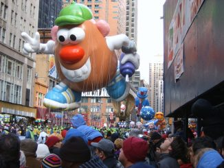 Mr. Potato Head balloon at the Macy s Thanksgiving Day Parade in Manhattan, NY.