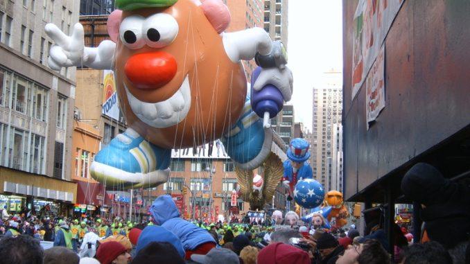 Mr. Potato Head balloon at the Macy s Thanksgiving Day Parade in Manhattan, NY.