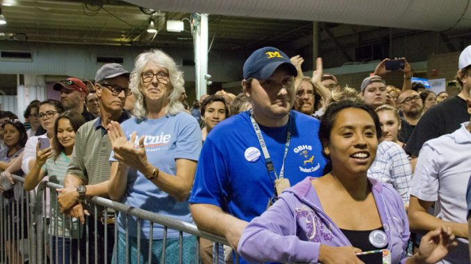 Democrat Bernie Sanders campaigned at several locations throughout the state of Arizona.