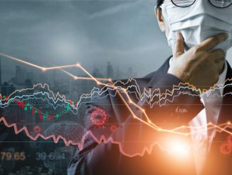 Economy crisis, Businessman with mask, Analysis corona virus economic impact, Crisis business and market financial conditions in the global Effects of outbreak and pandemic covid-19, Stocks fall