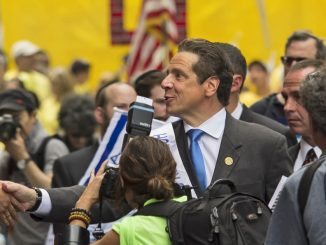New York governor Andrew Cuomo greets well-wishers